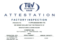 Certification TUV (Factory Inspection made in UE)